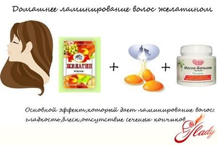 Ингредиенты для домашнего ламинирования волос