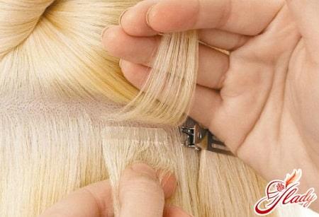 крепление ленточных волос