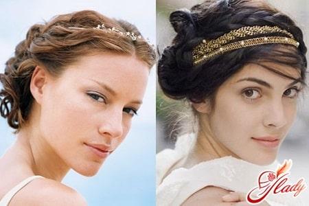 греческая прическа для средних волос