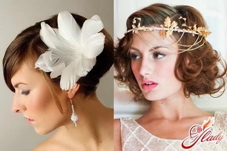 прически свадебные на короткие волосы